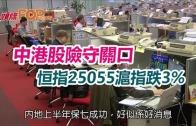 (港聞)中港股險守關口  恒指25055滬指跌3%