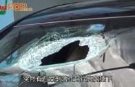 (港聞)石屎墜落擊穿擋風玻璃  司機受傷大難不死