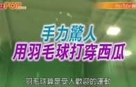 (粵)手力驚人  用羽毛球打穿西瓜