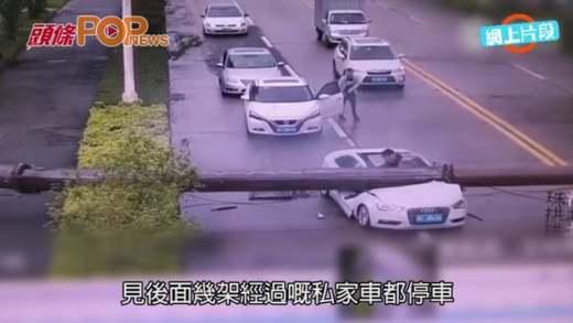 粵鐵臂冧低砸Audi 司機忍痛爬出車外