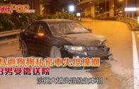 為避狗狗私家車失控撞欄 3男受傷送院