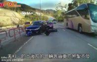 車cam直擊出事一刻 私家車遭撞鐵騎士捲車底