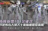 南韓新增101宗確診  今起所有入境人士需隔離檢疫兩周